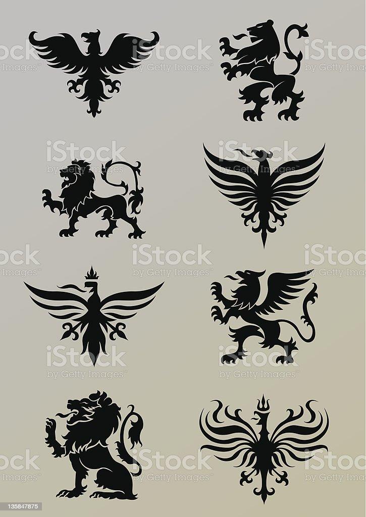 Heraldry set vector art illustration