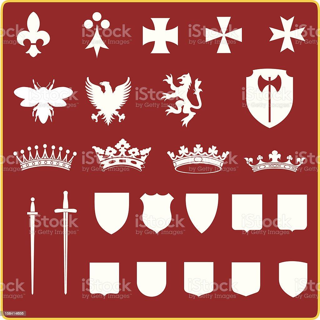 Heraldry set royalty-free stock vector art