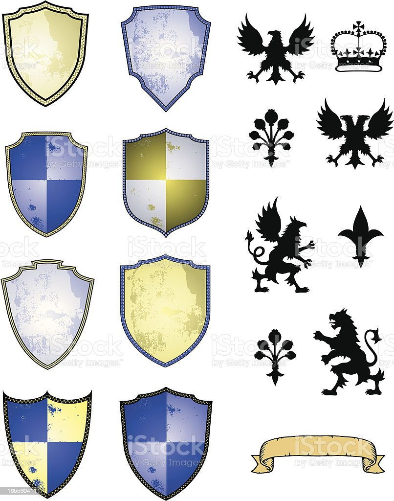 Heraldry Set vector art illustration