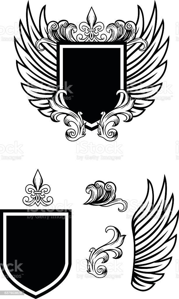 Heraldry shield vector art illustration