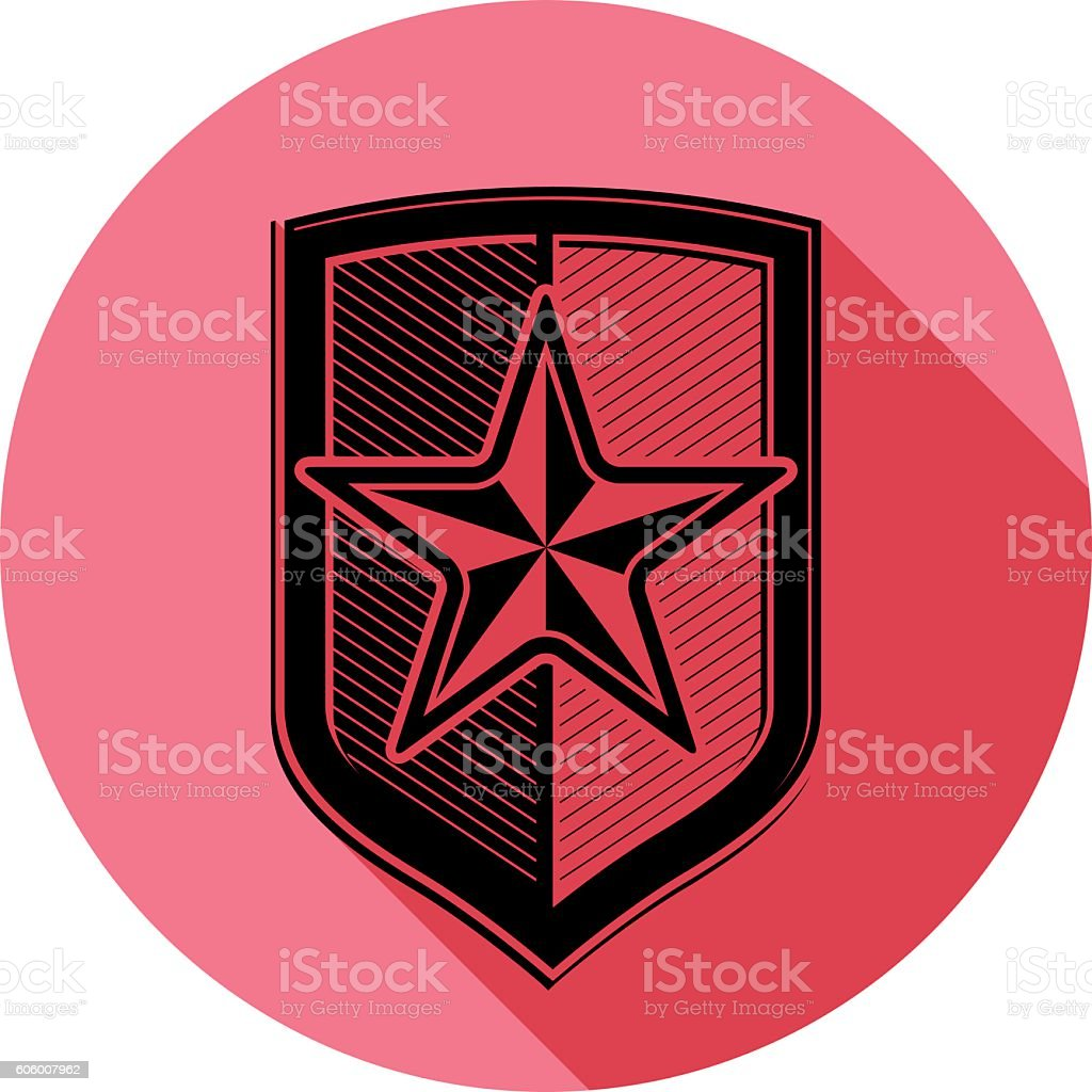 Heraldry theme conceptual icon, protection shield isolated on white vector art illustration