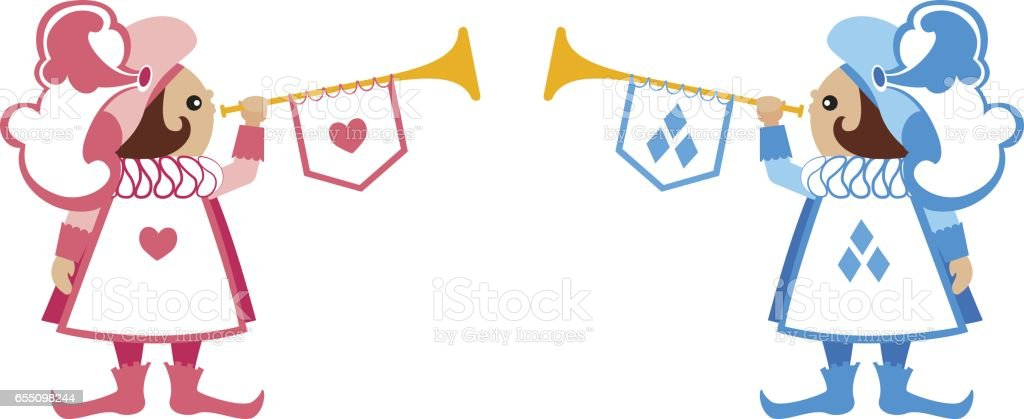 Heralds in blue and red suits hearts and diamonds with musical instruments vector art illustration