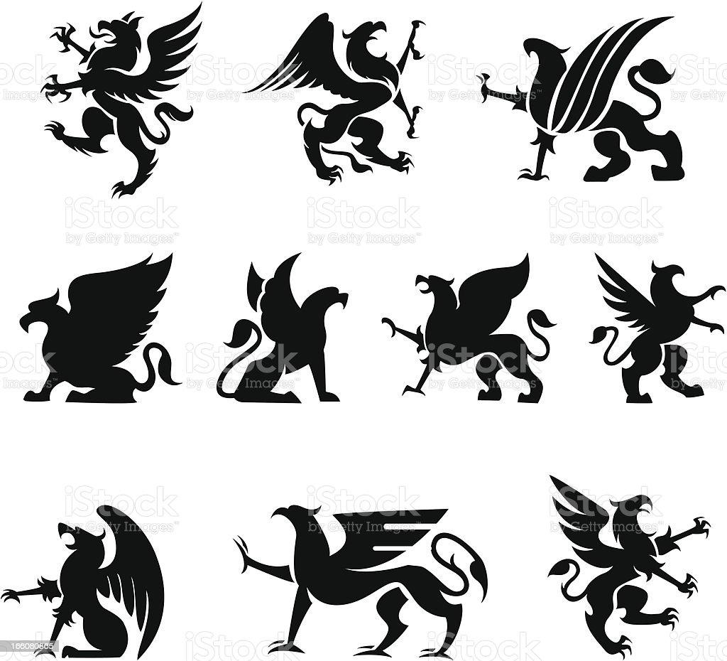 Heraldy Griffin vector art illustration