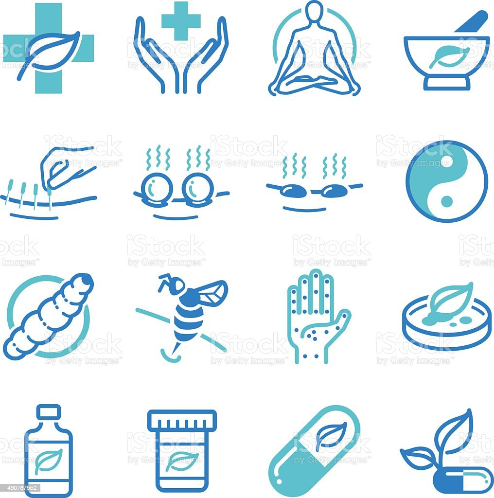 Herb and Alternative Medicine icons vector art illustration