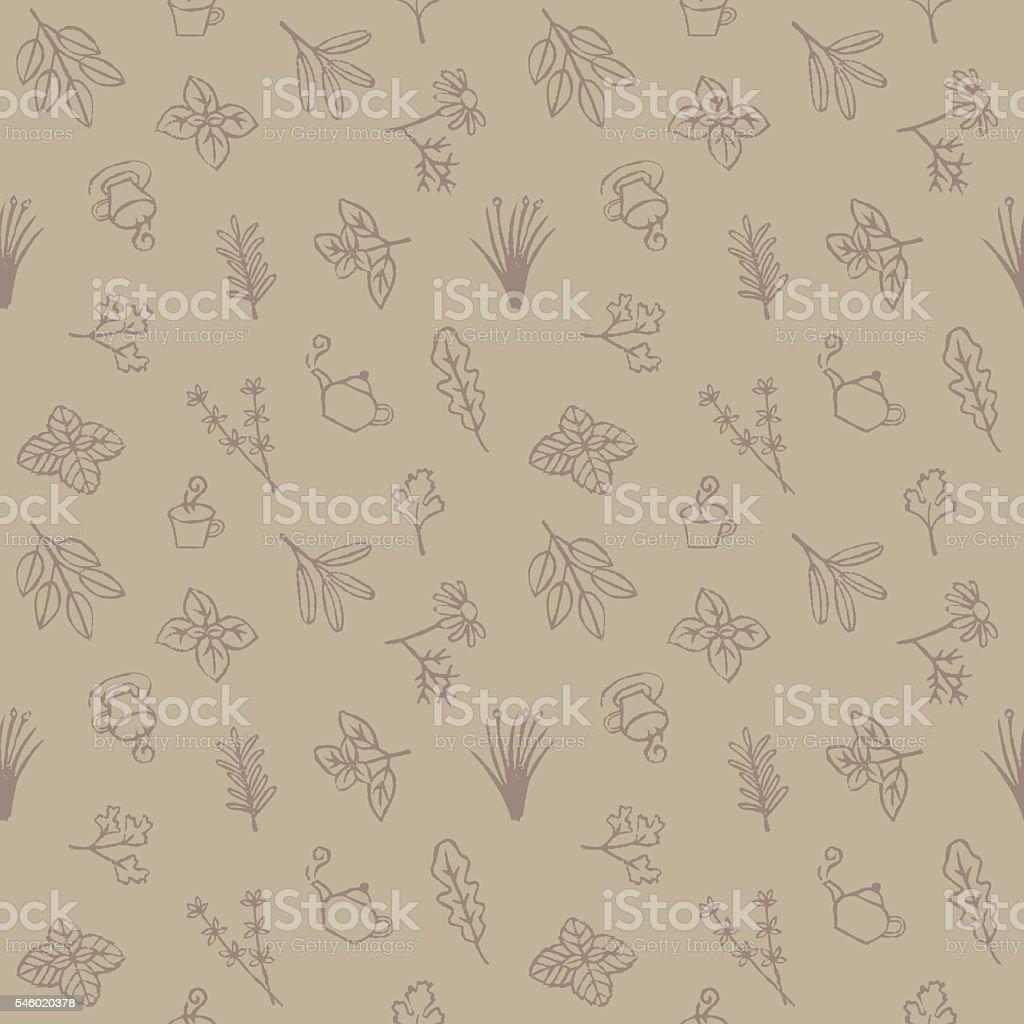 Herb and tea seamless pattern vector art illustration