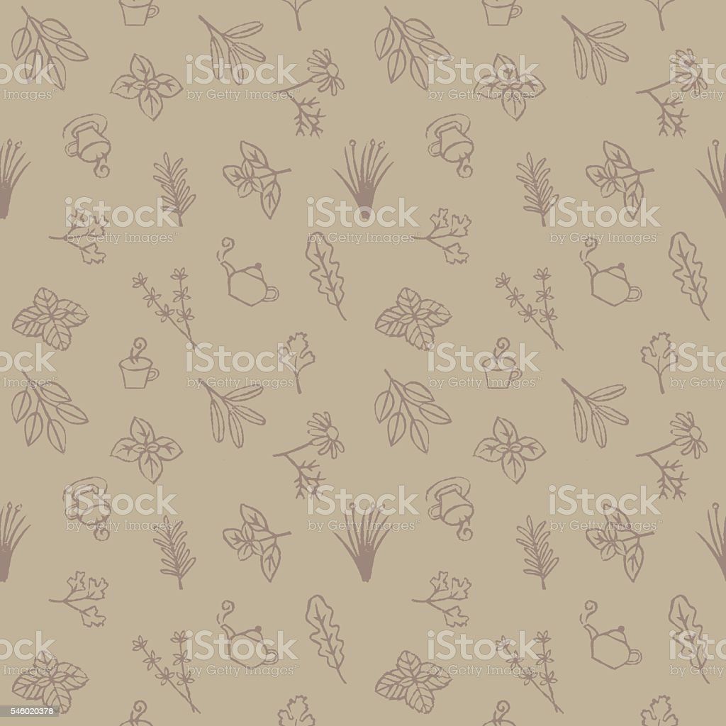 Herb and tea seamless pattern vector art illustration