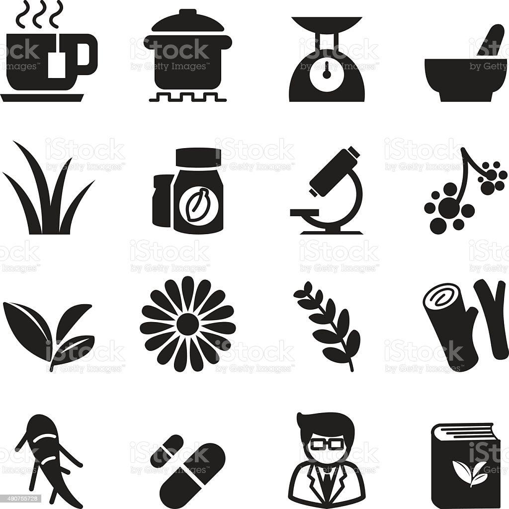 Herb icon set vector art illustration