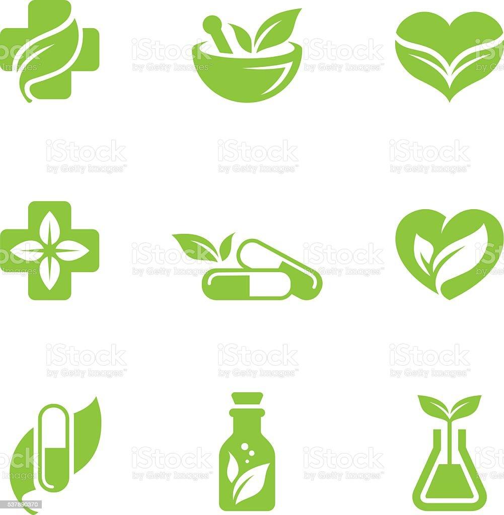 Herbal medicine icons set vector art illustration
