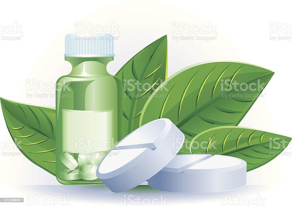 Herbal medicine pills vector art illustration