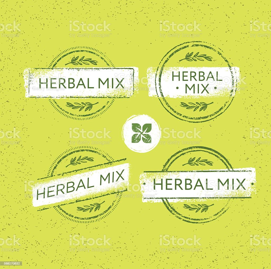 Herbal Mix Organic Green Floral Vector Concept vector art illustration