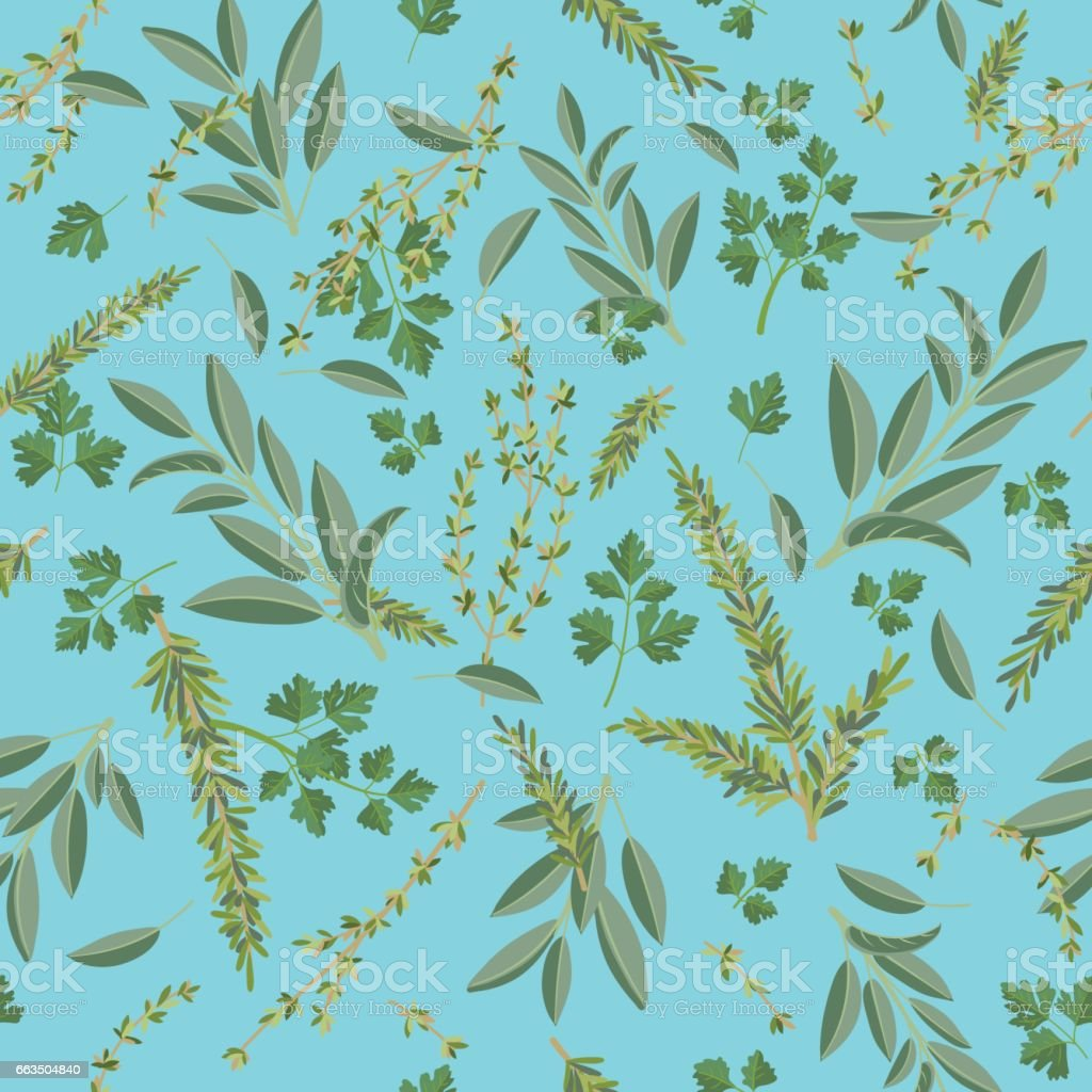 Herbs Cooking Seamless Pattern vector art illustration