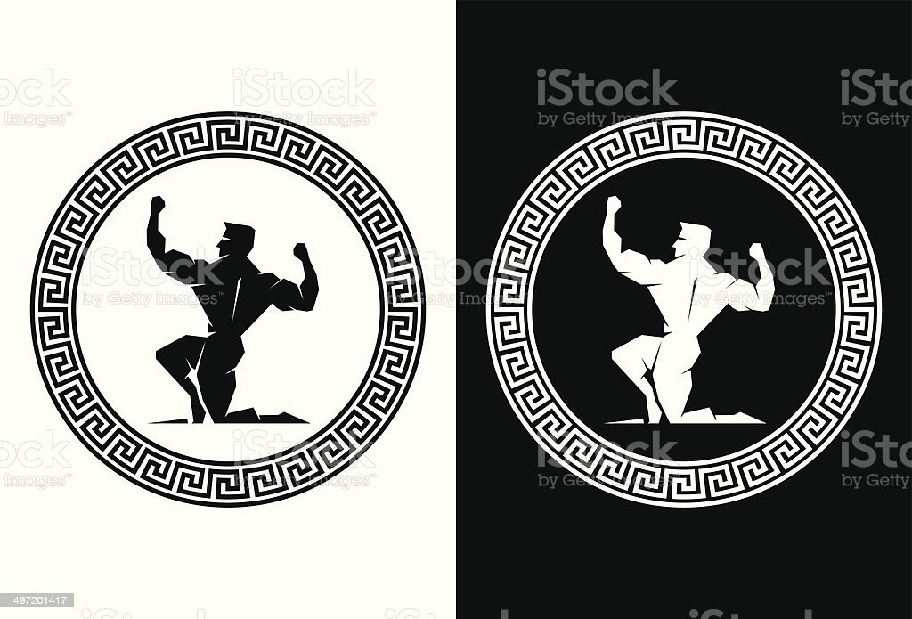 Hercules inside a Greek Key back view vector art illustration