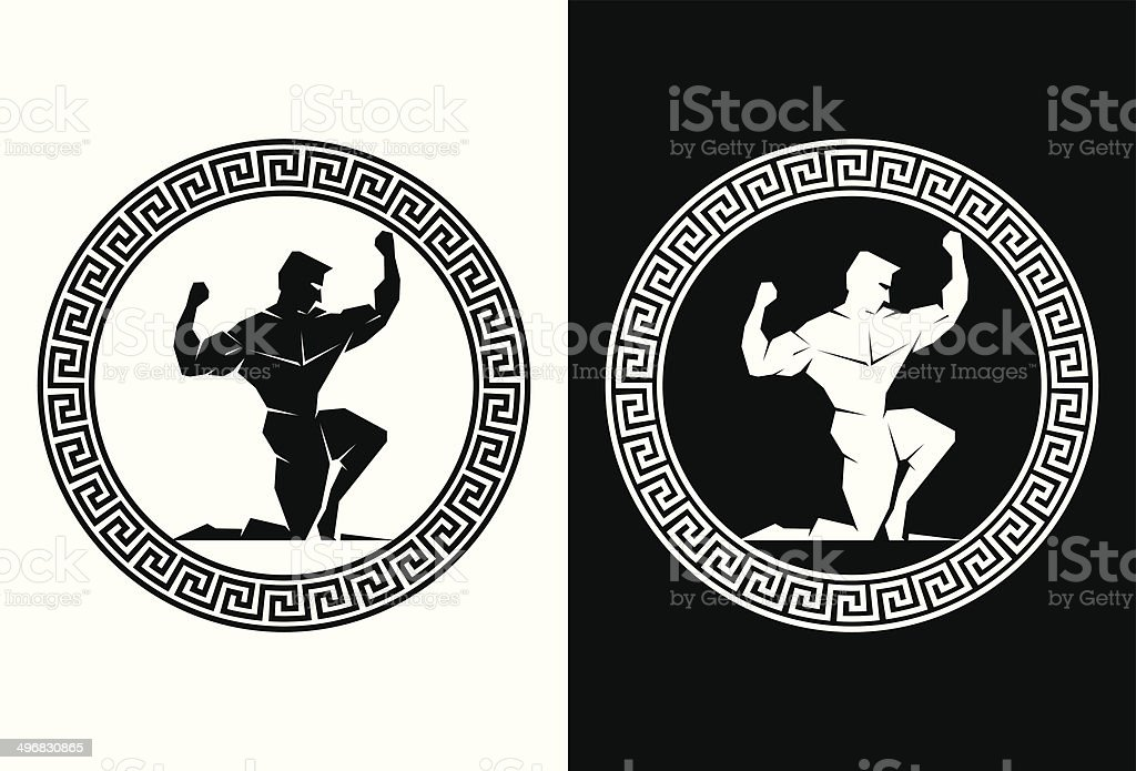Hercules inside a Greek Key front view royalty-free stock vector art