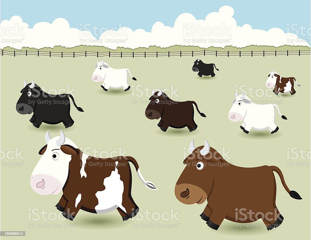 Herd of Cattle royalty-free stock vector art