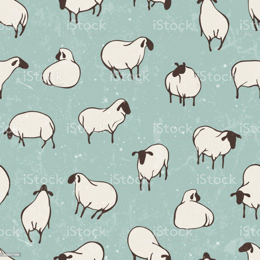 Herd of sheep. Seamless vector pattern vector art illustration