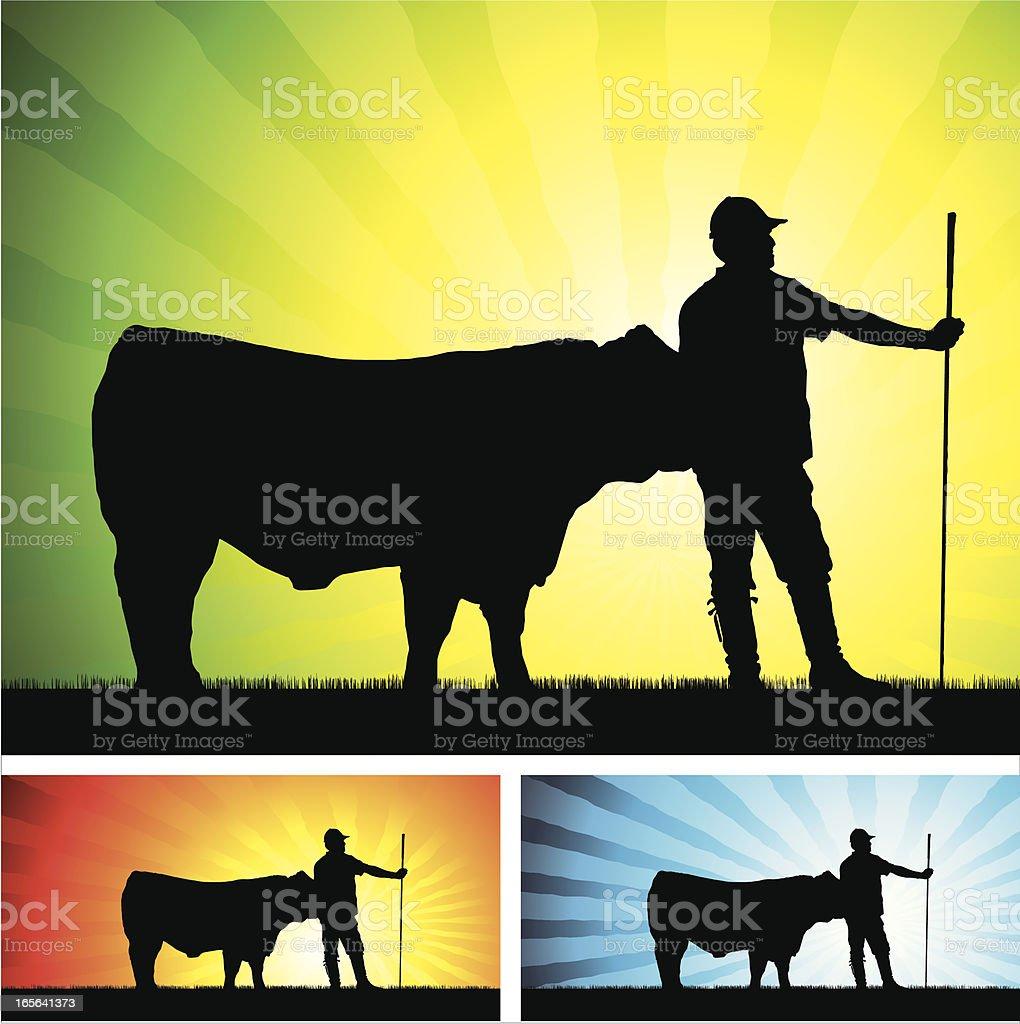 herdsman with bull vector art illustration