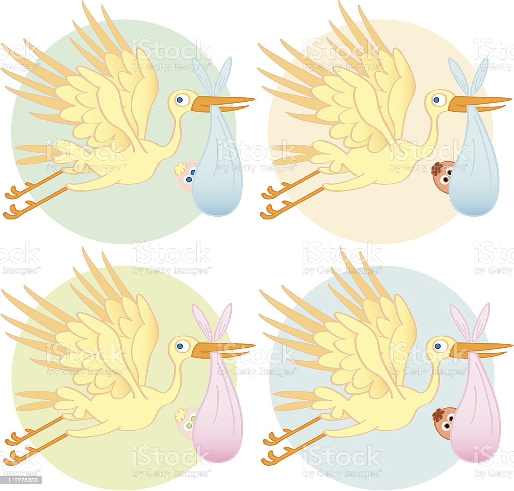 Here Comes the Stork royalty-free stock vector art