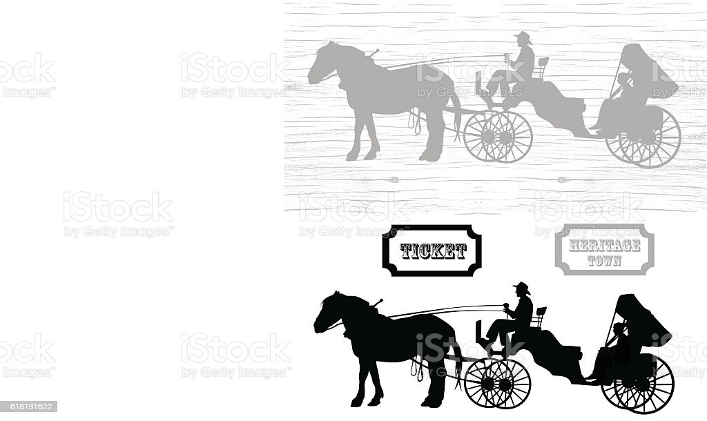 Heritage TownHorse Carriage Rides Silhouette Vector vector art illustration