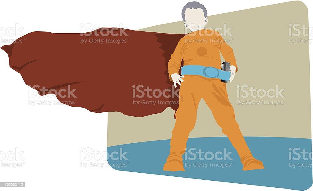 Hero boy  ready to rescue (vector) vector art illustration