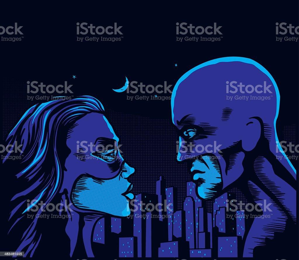 Hero couple night royalty-free stock vector art