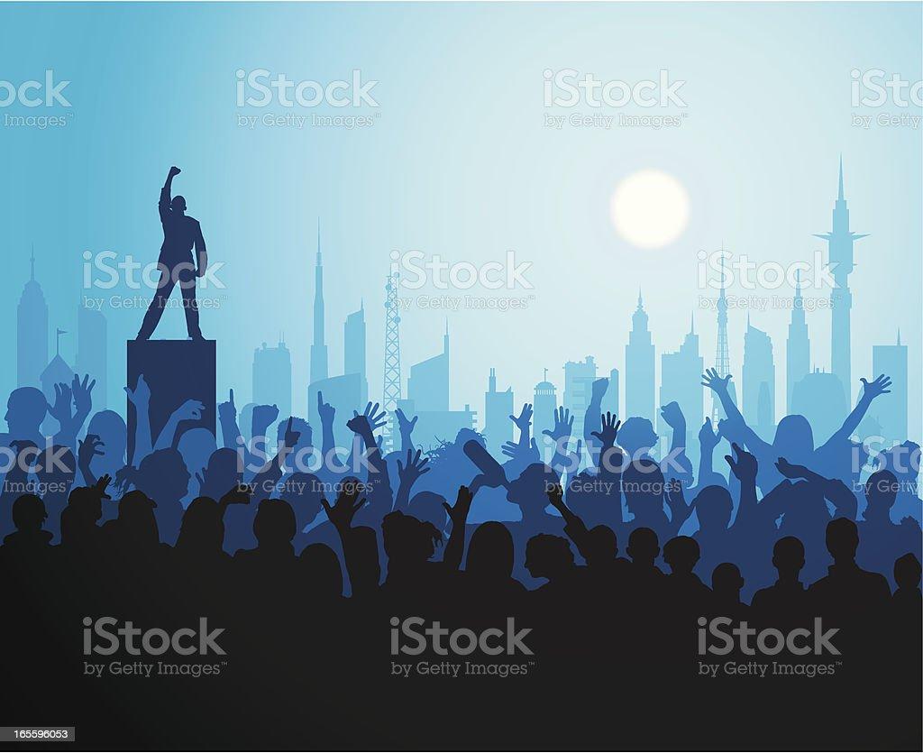 Hero in the City vector art illustration