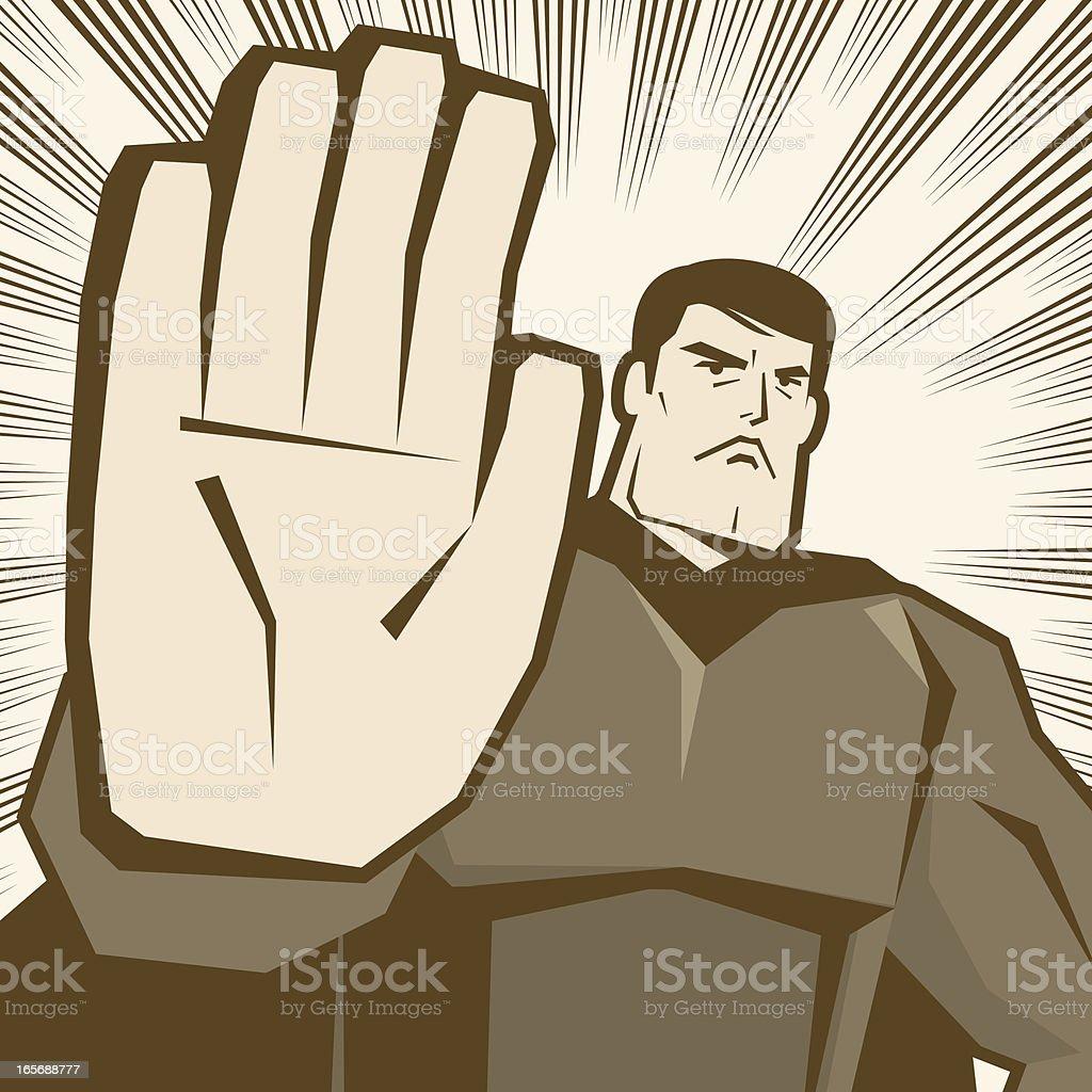 Hero Making Stop Gesture! vector art illustration