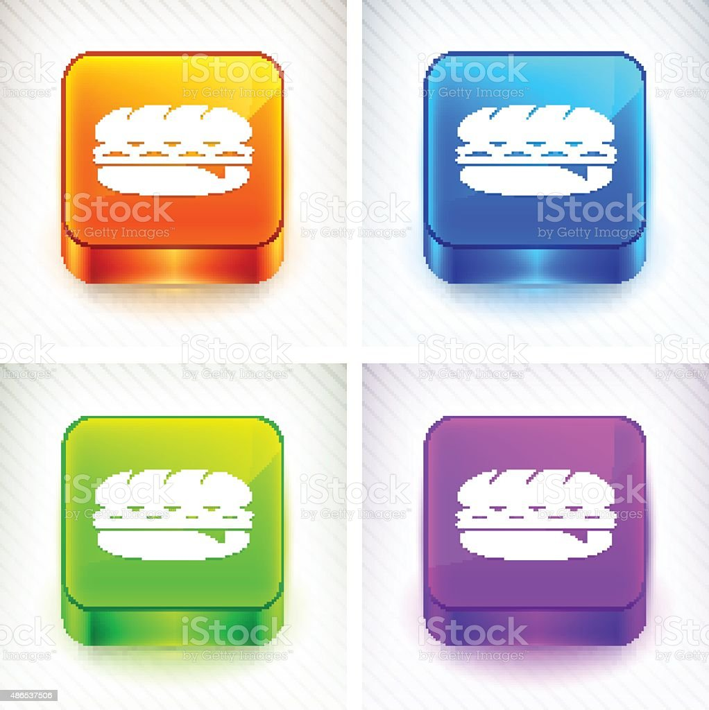 Hero Sandwich on Color Square Buttons vector art illustration