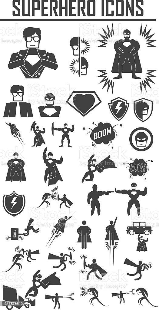 hero superhero icons . illustration vector EPS 10, Big pack vector art illustration