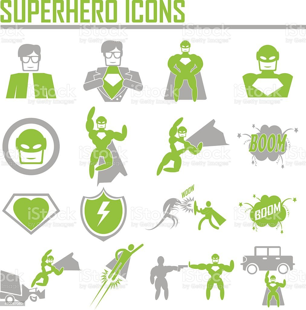 hero superhero icons . illustration vector EPS 10 vector art illustration