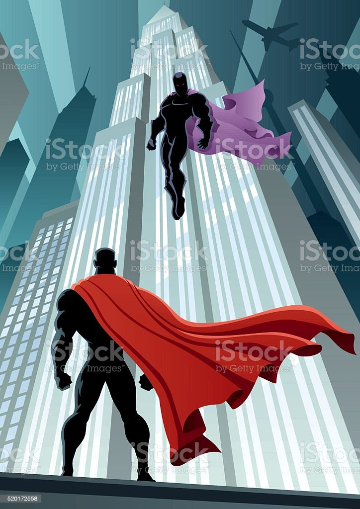 Hero Versus Villain vector art illustration