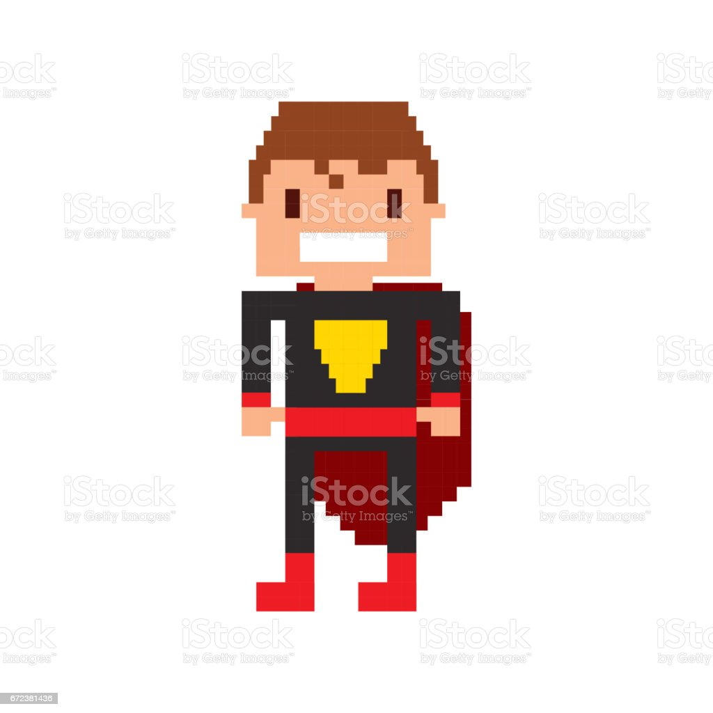 hero video game pixelated character vector art illustration