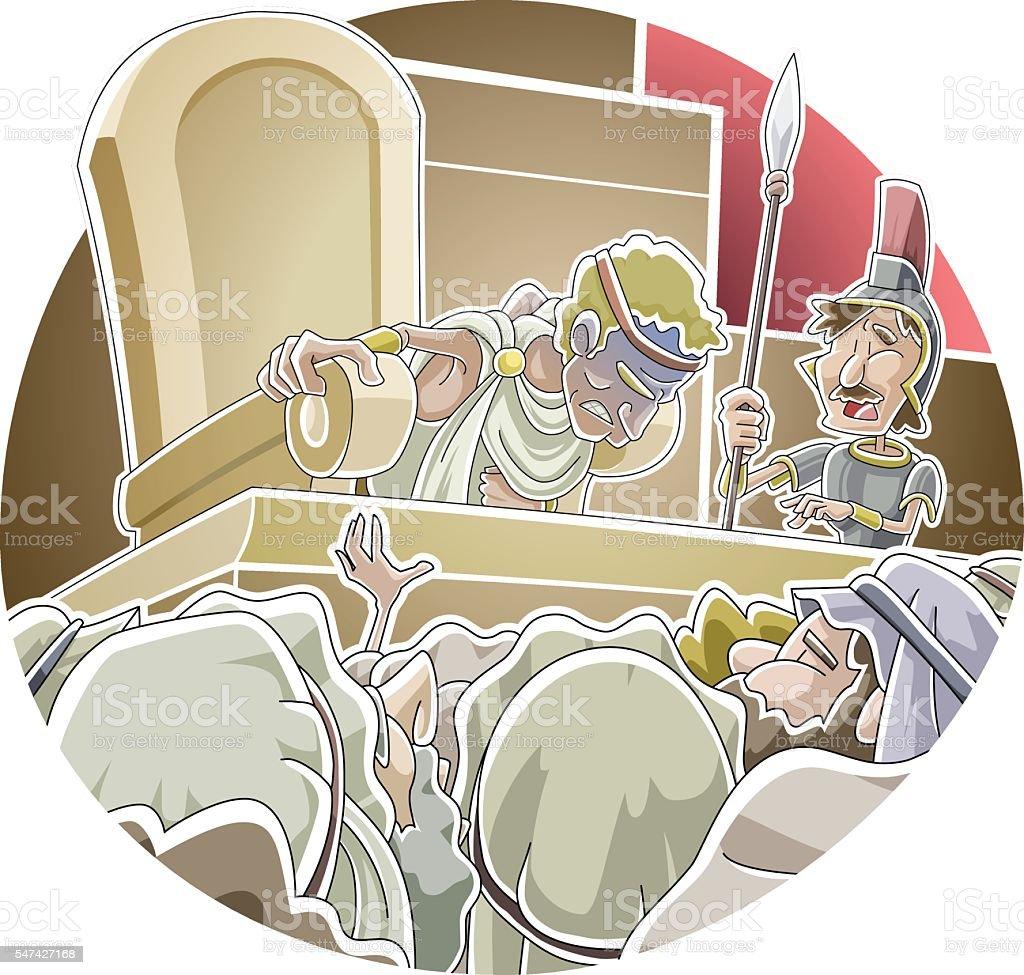 Herod's death vector art illustration