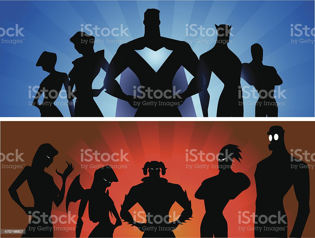 Heroes and Villains vector art illustration