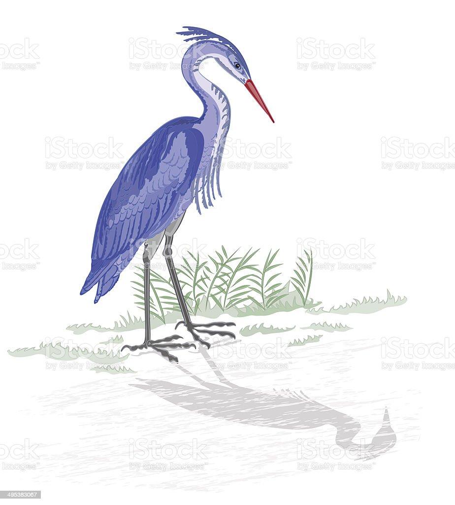 Heron by the lake vector art illustration