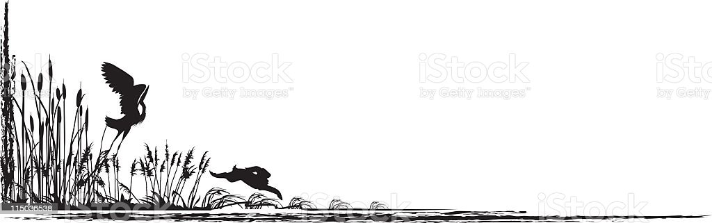 Heron Rabbit Silhoeutte royalty-free stock vector art