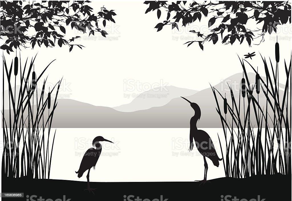 Herons' Habitat Vector Silhouette royalty-free stock vector art