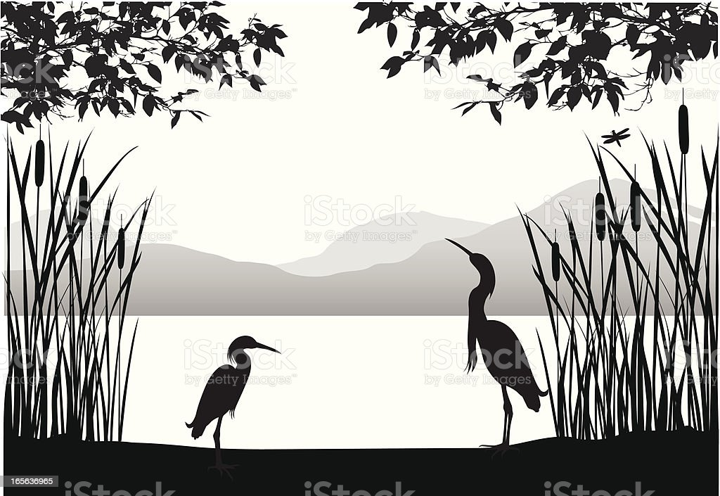 Herons' Habitat Vector Silhouette vector art illustration