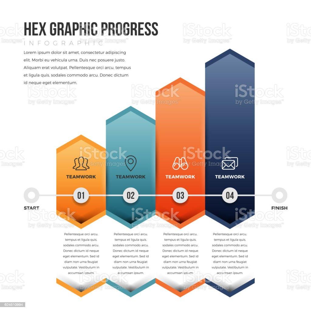 Hex Graphic Progress vector art illustration