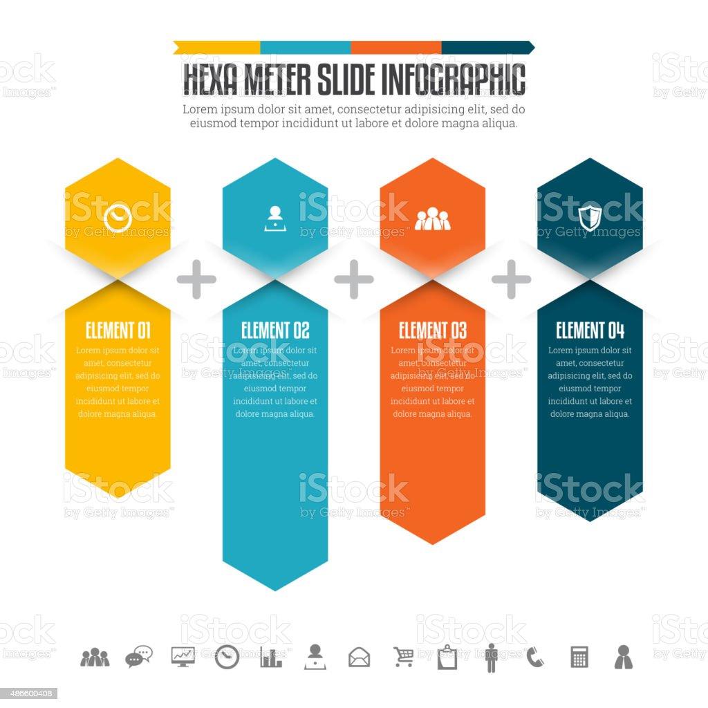 Hexa Meter Slide Infographic vector art illustration