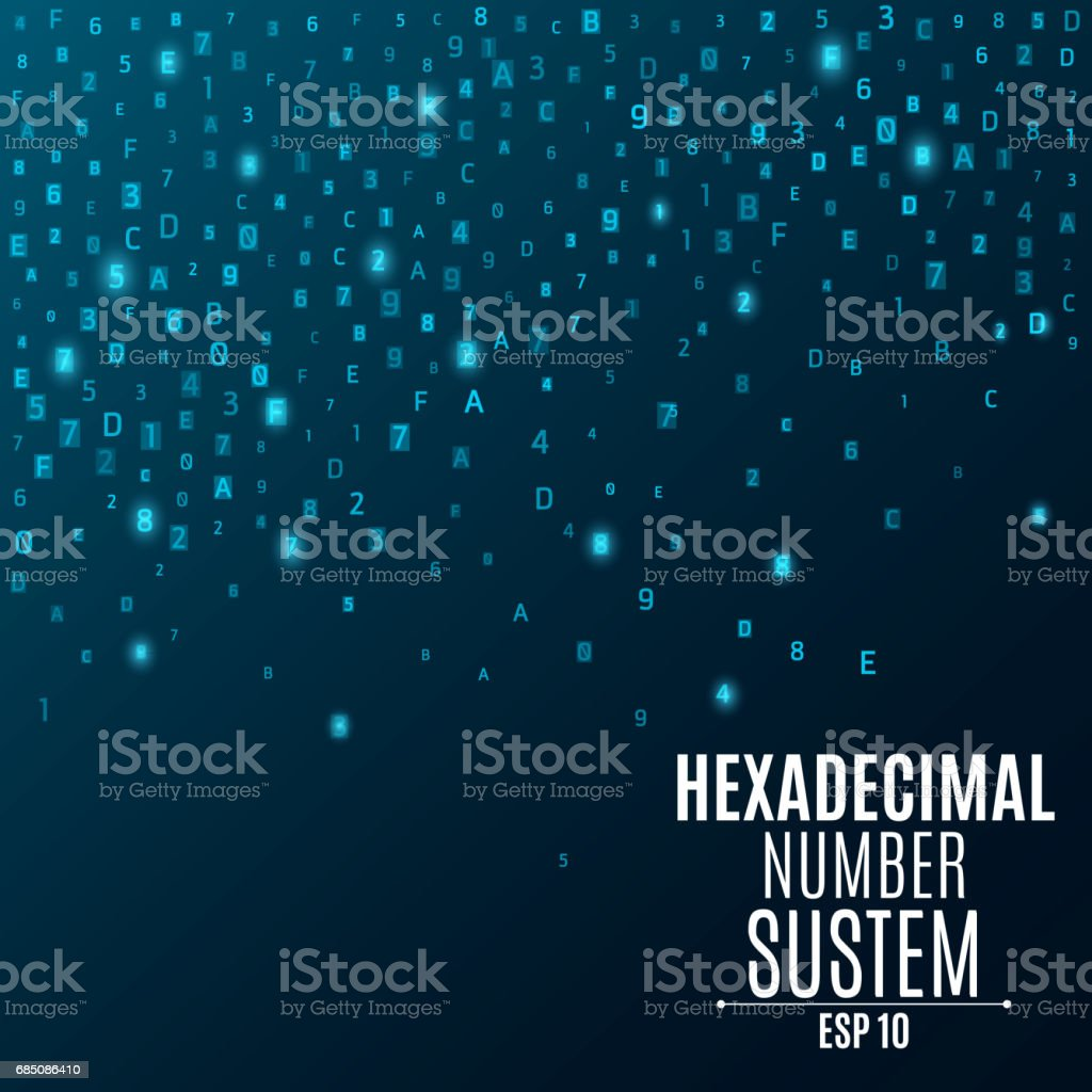 Hexadecimal number system. Abstract, modern background. Glowing numbers and letters are blue. Sparse symbols. Hi-tech and programming. Vector illustration. EPS 10 vector art illustration