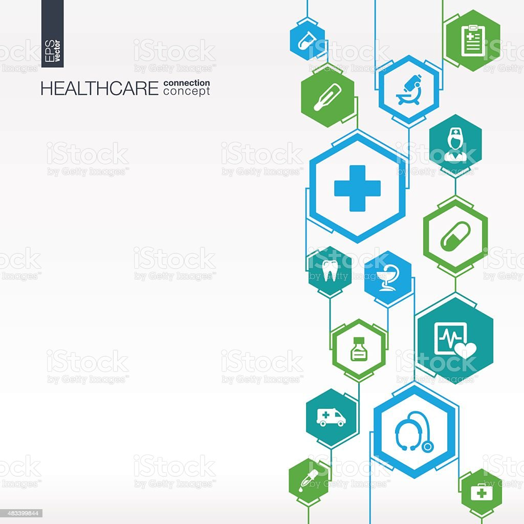 Hexagon abstract. Medicine background with lines, polygons, integrate flat icons. vector art illustration