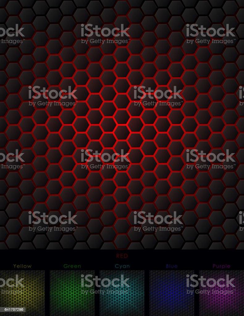 Hexagon Background Six Isolated Variants vector art illustration