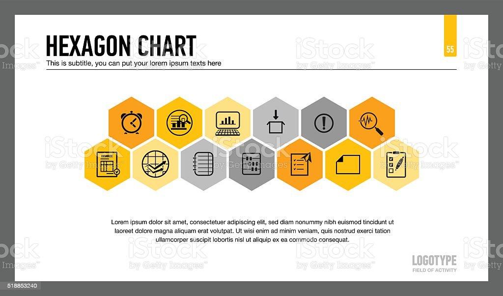 Hexagon Chart Presentation Slide vector art illustration