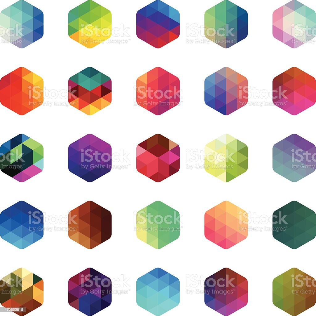 Hexagon colourful mosaic buttons vector art illustration