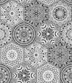 Hexagon design elements with moroccan motif