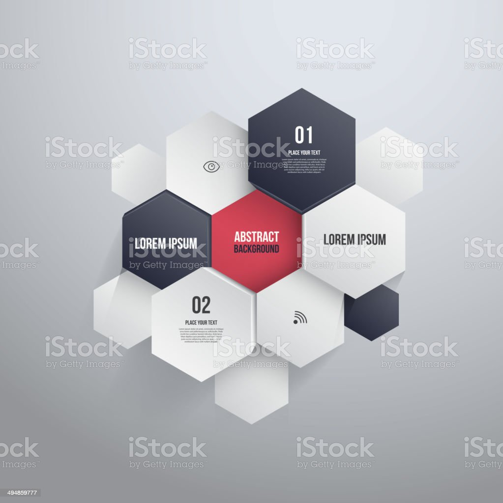 Hexagon Design.can be used for Infographics or website layout vector art illustration