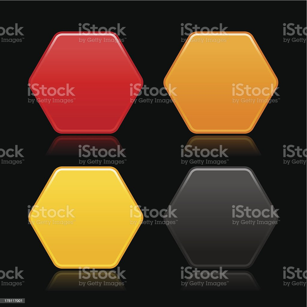 Hexagon empty icon blank yellow black red orange web button royalty-free stock vector art
