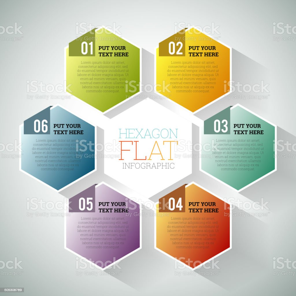 Hexagon Flat Infographic vector art illustration