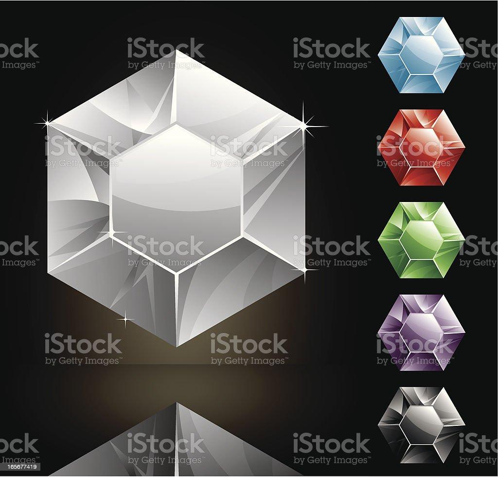 Hexagon Gems royalty-free stock vector art