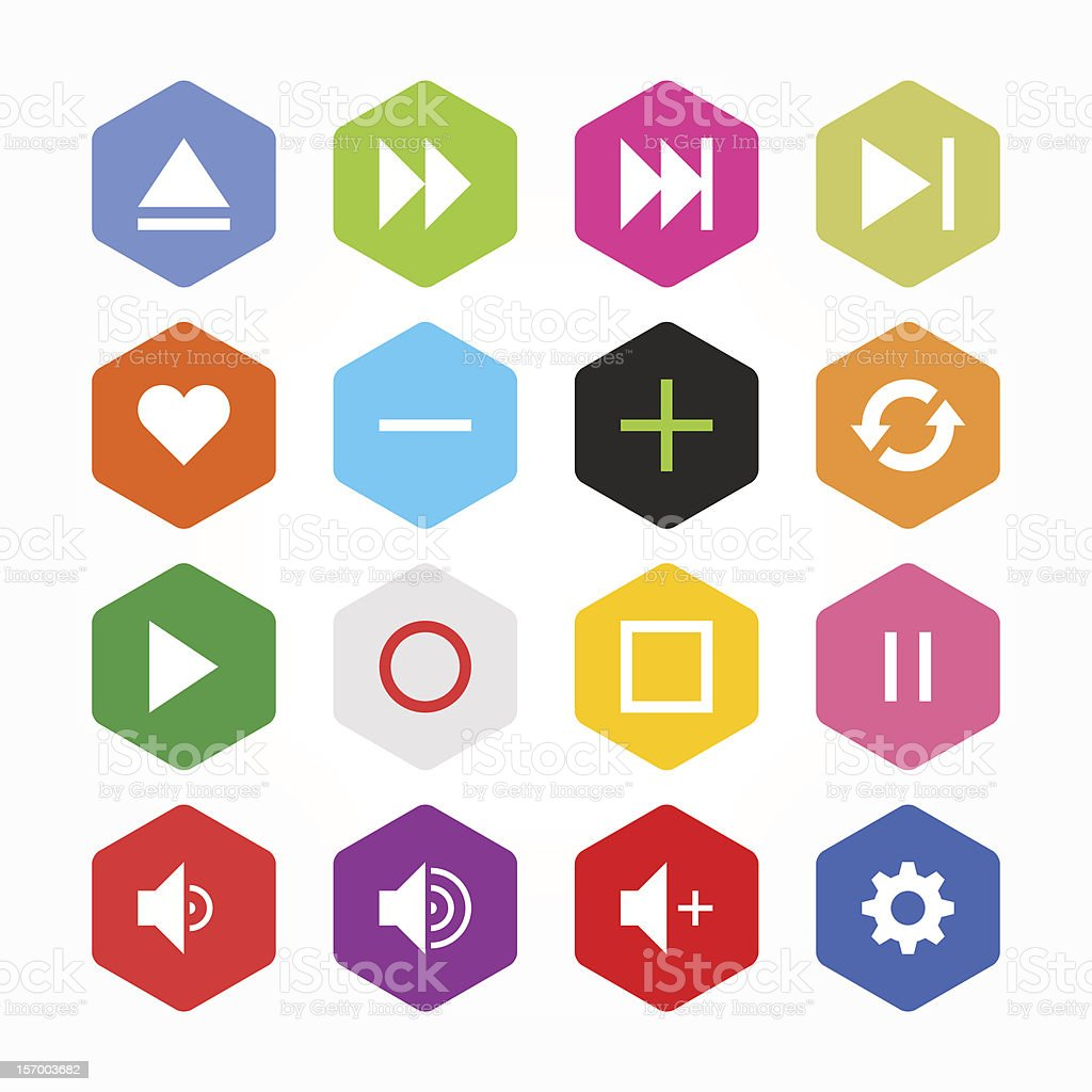 Hexagon icon media player sign button flat plain simple style royalty-free stock vector art
